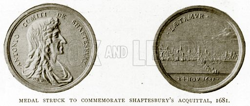 Medal Struck to Commemorate Shaftesbury's Acquittal, 1681. Illustration from A Short History of the English People by J R Green (Macmillan, 1892).