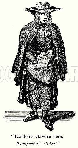 """""""London's Gazette here."""" Illustration from A Short History of the English People by JR Green (Macmillan, 1892)."""