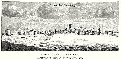 Limerick from the Sea. Illustration from A Short History of the English People by J R Green (Macmillan, 1892).