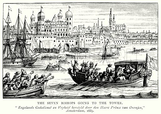 The Seven Bishops going to the Tower. Illustration from A Short History of the English People by JR Green (Macmillan, 1892).