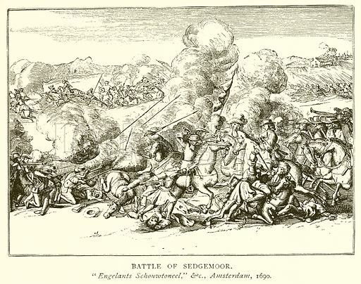 Battle of Sedgemoor. Illustration from A Short History of the English People by J R Green (Macmillan, 1892).
