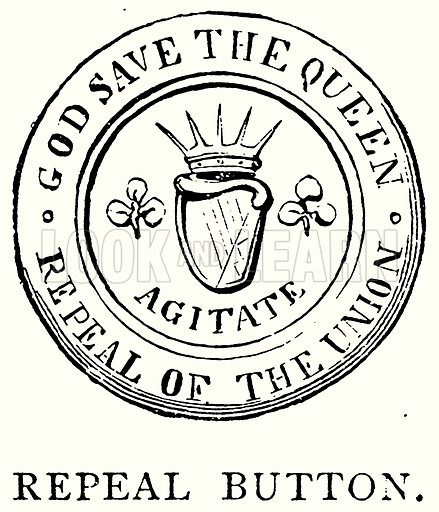 Repeal Button. Illustration from A Short History of the English People by J R Green (Macmillan, 1892).