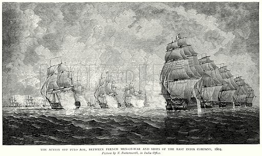 The Action off Pulo Aor, between French Men-of-War and Ships of East India Company, 1804. Illustration from A Short History of the English People by JR Green (Macmillan, 1892).