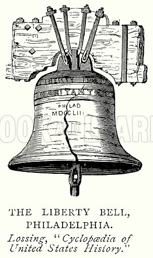 The Liberty Bell, Philadelphia. Illustration from A Short History of the English People by J R Green (Macmillan, 1892).