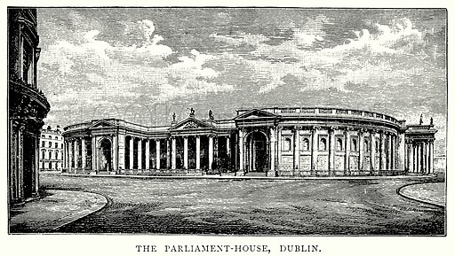 The Parliament-House, Dublin. Illustration from A Short History of the English People by J R Green (Macmillan, 1892).