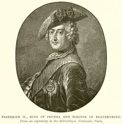 Frederick II, King of Prussia and Elector of Brandenburg. Illustration from A Short History of the English People by J R Green (Macmillan, 1892).