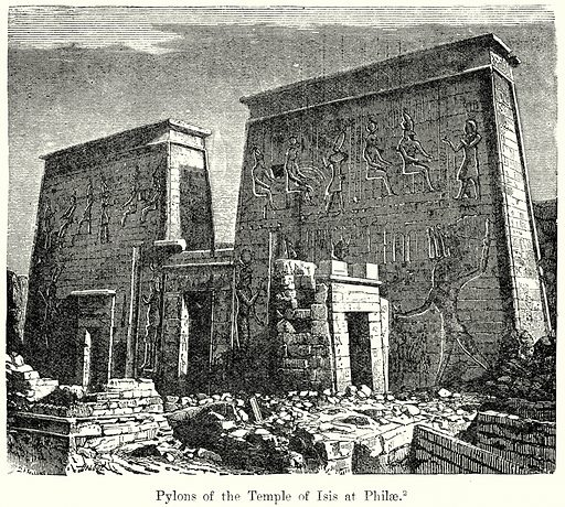 Pylons of the Temple of Isis at Philae. Illustration from History of Rome by Victor Duruy (Kegan Paul, Trench & Co, 1884).