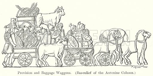 Provision and Baggage Waggons. (Bas-Relief of the Antonine Column.) Illustration from History of Rome by Victor Duruy (Kegan Paul, Trench & Co, 1884).