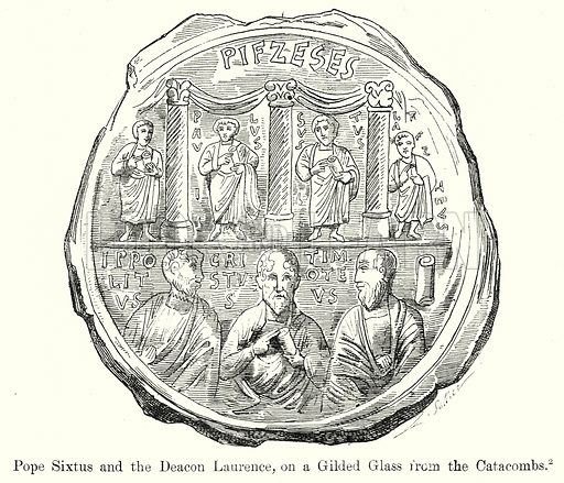 Pope Sixtus and the Deacon Laurence, on a Gilded Glass from the Catacombs. Illustration from History of Rome by Victor Duruy (Kegan Paul, Trench & Co, 1884).