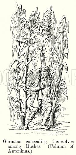 Germans concealing themselves among Rushes. (Column of Antoninus.) Illustration from History of Rome by Victor Duruy (Kegan Paul, Trench & Co, 1884).