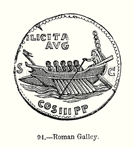 Roman Galley. Illustration from Old England, A Pictorial Museum edited by Charles Knight (James Sangster & Co, c 1845).