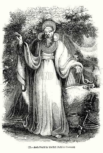 Arch-Druid in his full Judicial Costume. Illustration from Old England, A Pictorial Museum edited by Charles Knight (James Sangster & Co, c 1845).