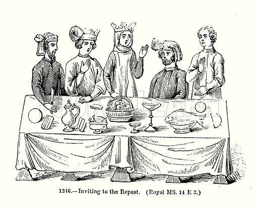 Inviting to the Repast. (Royal MS 14 E 3.) Illustration from Old England, A Pictorial Museum edited by Charles Knight (James Sangster & Co, c 1845).