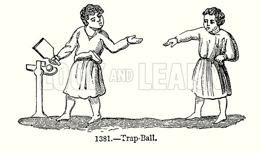 Trap-Ball. Illustration from Old England, A Pictorial Museum edited by Charles Knight (James Sangster & Co, c 1845).