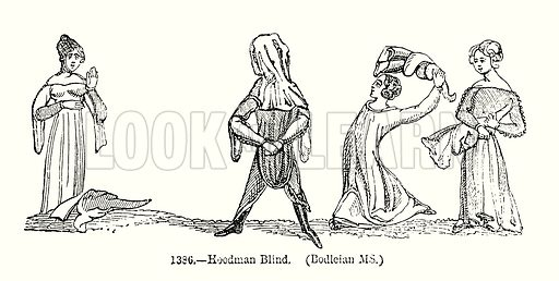 Hoodman Blind. (Bodleian MS.) Illustration from Old England, A Pictorial Museum edited by Charles Knight (James Sangster & Co, c 1845).