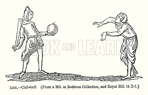 Club-Ball. Illustration from Old England, A Pictorial Museum edited by Charles Knight (James Sangster & Co, c 1845).