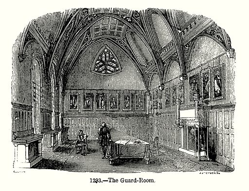 The Guard-Room. Illustration from Old England, A Pictorial Museum edited by Charles Knight (James Sangster & Co, c 1845).