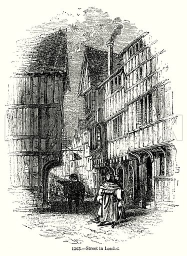 Street in London. Illustration from Old England, A Pictorial Museum edited by Charles Knight (James Sangster & Co, c 1845).