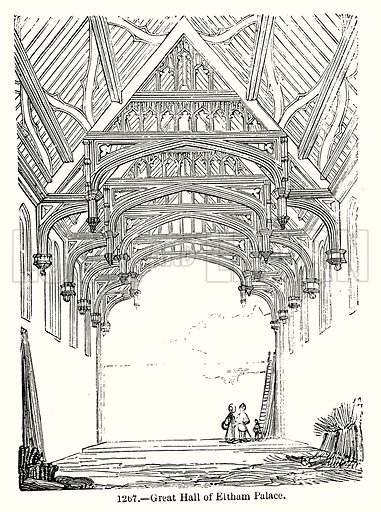 Great Hall of Eltham Palace. Illustration from Old England, A Pictorial Museum edited by Charles Knight (James Sangster & Co, c 1845).