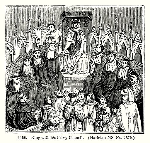 King with his Privy Council. (Harleian MS. No. 4379.) Illustration from Old England, A Pictorial Museum edited by Charles Knight (James Sangster & Co, c 1845).