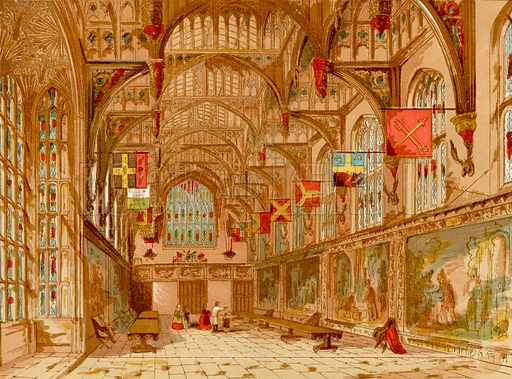 Wolsey's Hall, Hampton Court.  Illustration from Old England, A Pictorial Museum edited by Charles Knight (James Sangster & Co, c 1845).