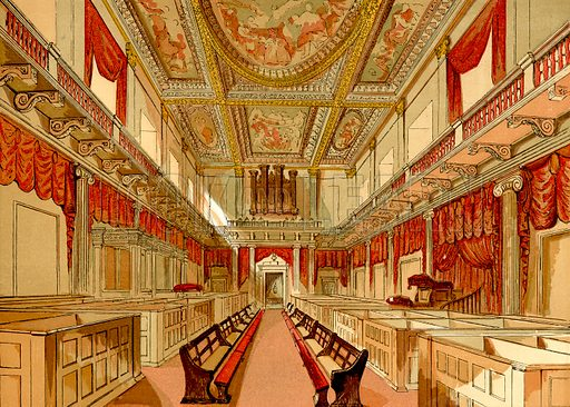 Whitehall Chapel, London.  Illustration from Old England, A Pictorial Museum edited by Charles Knight (James Sangster & Co, c 1845).
