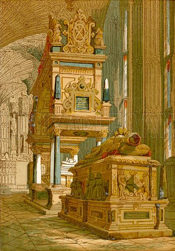 Tomb of Mary Queen of Scots, Westminster Abbey.  Illustration from Old England, A Pictorial Museum edited by Charles Knight (James Sangster & Co, c 1845).