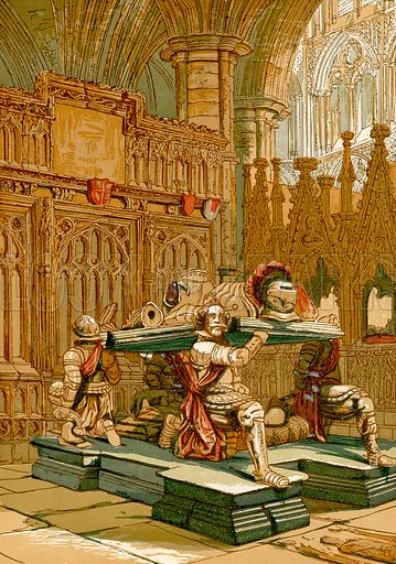 Tomb of Sir Francis Vere, Westminster Abbey.  Illustration from Old England, A Pictorial Museum edited by Charles Knight (James Sangster & Co, c 1845).