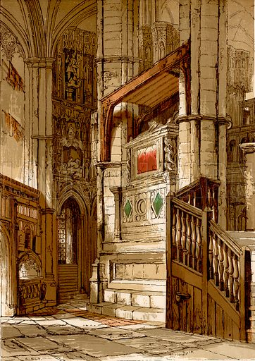 Entrance to the chapel of Edward the Confessor.  Illustration from Old England, A Pictorial Museum edited by Charles Knight (James Sangster & Co, c 1845).