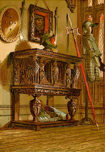 Elizabethan sideboard or cupboard at Warwick Castle.  Illustration from Old England, A Pictorial Museum edited by Charles Knight (James Sangster & Co, c 1845).