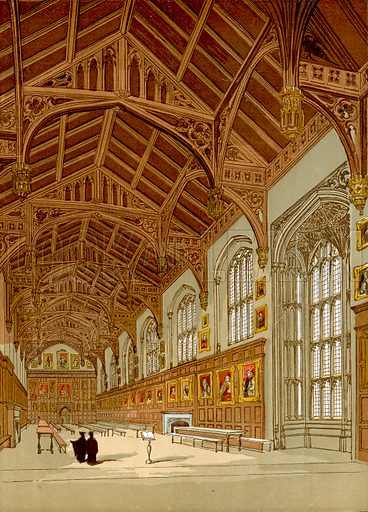 Christ Church Hall, Oxford.  Illustration from Old England, A Pictorial Museum edited by Charles Knight (James Sangster & Co, c 1845).