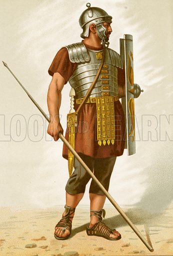 Roman legionary.  Illustration from History of Rome by Victor Duruy (Kegan, Paul, Trench & Co, 1884).