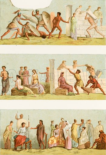 Paintings from the tomb of Statilius Taurus.  Illustration from History of Rome by Victor Duruy (Kegan, Paul, Trench & Co, 1884).