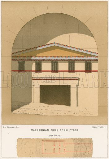 Macedonian tomb from Pydna. Illustration from History of Rome by Victor Duruy (Kegan, Paul, Trench & Co, 1884).