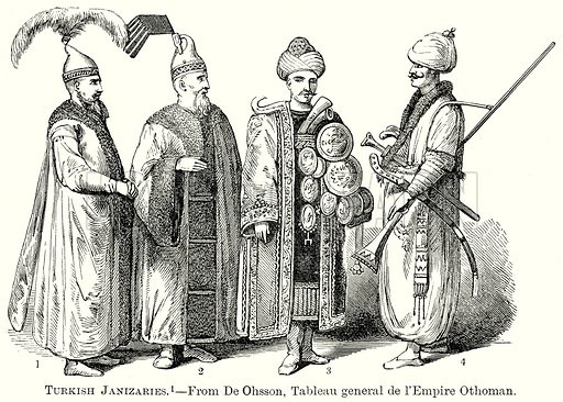 Turkish Janizaries. Illustration from The Comprehensive History of England by Charles Macfarlance et al (Gresham Publishing, 1902).
