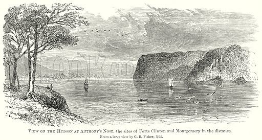 View on Hudson at Anthony's Nose, the Sites if Forts Clinton and Montgomery in the Distance. Illustration from The Comprehensive History of England by Charles Macfarlance et al (Gresham Publishing, 1902).