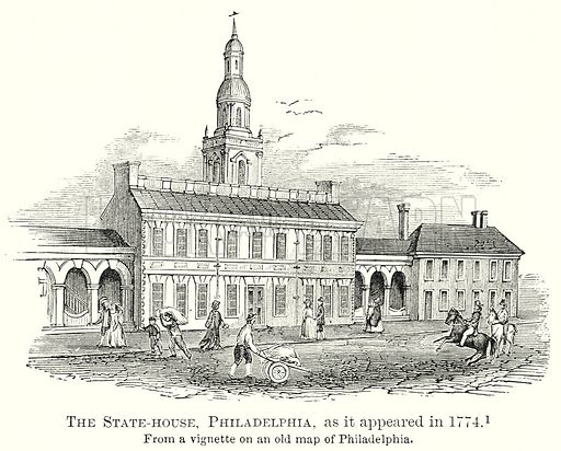 The State-House, Philadelphia, as it appeared in 1774. Illustration from The Comprehensive History of England by Charles Macfarlance et al (Gresham Publishing, 1902).