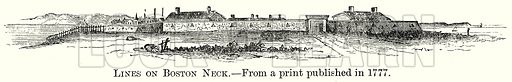 Lines on Boston Neck. Illustration from The Comprehensive History of England by Charles Macfarlance et al (Gresham Publishing, 1902).