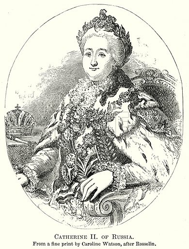 Catherine II of Russia. Illustration from The Comprehensive History of England by Charles Macfarlance et al (Gresham Publishing, 1902).