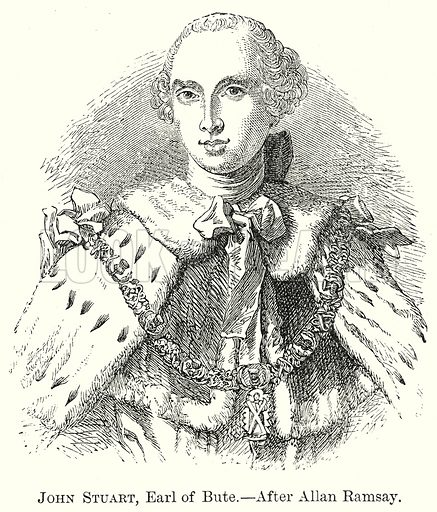 John Stuart, Earl of Bute.--After Allan Ramsay. Illustration from The Comprehensive History of England by Charles Macfarlance et al (Gresham Publishing, 1902).