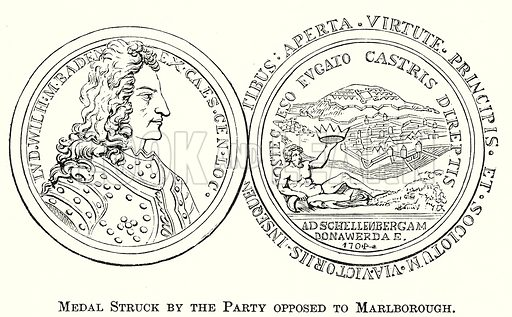 Medal Struck by the Party Opposed to Marlborough. Illustration from The Comprehensive History of England by Charles Macfarlance et al (Gresham Publishing, 1902).