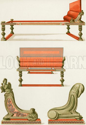Bronze furniture from Pompeii. Illustration from History of Rome by Victor Duruy (Kegan, Paul, Trench & Co, 1884).