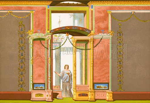 Pompeian wall decoration.  Illustration from History of Rome by Victor Duruy (Kegan, Paul, Trench & Co, 1884).