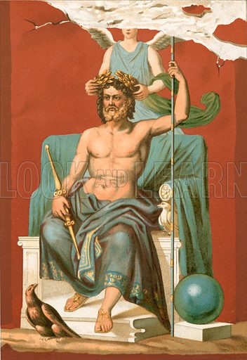 Zeus crowned by Victory.  Illustration from History of Rome by Victor Duruy (Kegan, Paul, Trench & Co, 1884).
