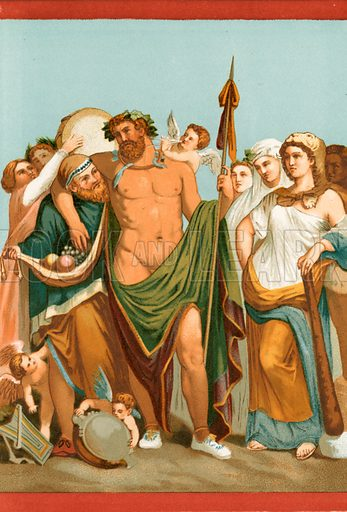 Hercules and Omphale, from a Pompeian painting. Illustration from History of Rome by Victor Duruy (Kegan, Paul, Trench & Co, 1884).