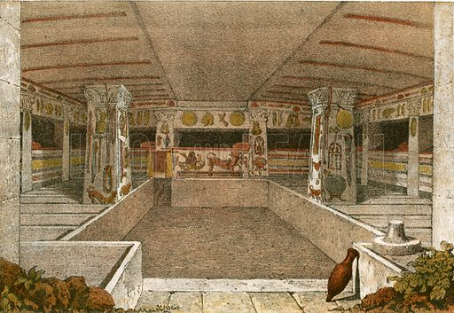 Sepulchral room at Caere.  Illustration from History of Rome by Victor Duruy (Kegan, Paul, Trench & Co, 1884).