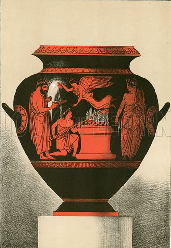 Amphora of Cervetri (Caere) representing a sacrifice. Illustration from History of Rome by Victor Duruy (Kegan, Paul, Trench & Co, 1884).