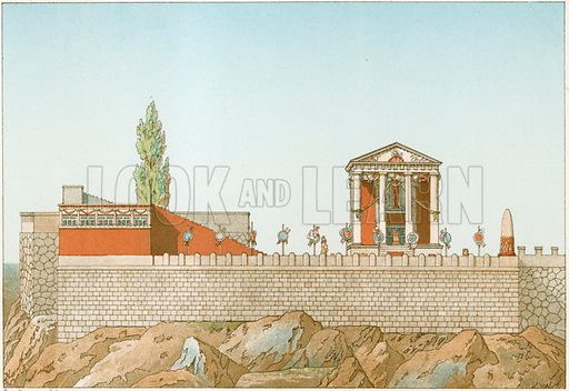 Temple of Cora, as restored by Labrouste.  Illustration from History of Rome by Victor Duruy (Kegan, Paul, Trench & Co, 1884).