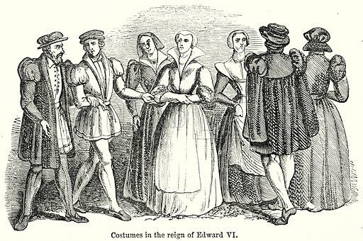 Costumes in the Reign of Edward VI. Illustration from unidentified late 19th century history of England.