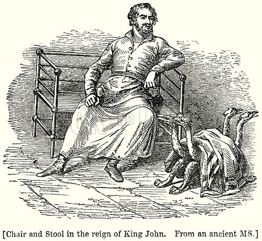 Chair and Stool in the Reign of King John. Illustration from unidentified late 19th century history of England.